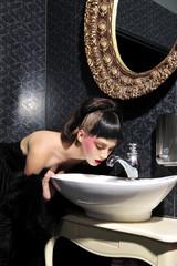 beauty, brunette, bathroom, girl, glamour, portrait