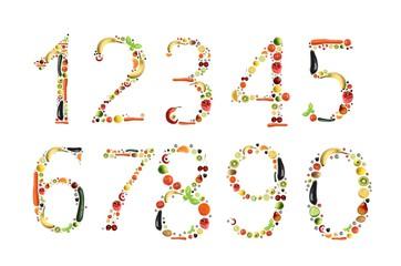 Zahlen aus Obst und Gemüse