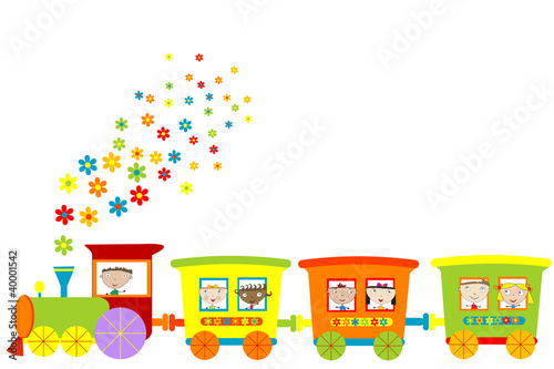 Train with happy children