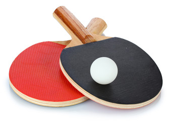 ping-pong rackets and ball, isolated on white