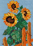 embroidery cross - sunflowers, needlework poster