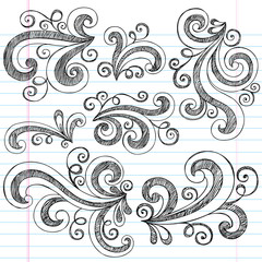 Sketchy Doodle Swirls Vector Design Elements Set