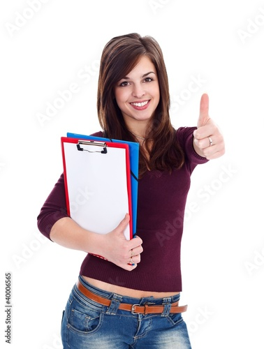 Student girl shows thumbs up