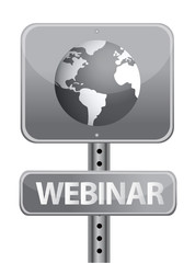webinar street sign and globe illustration design