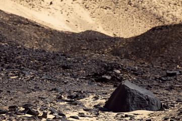 basalt stone in Black Desert in Sahara, western Egypt