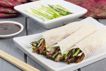 Peking Duck Wraps with spring onion, cucumber & hoisin sauce