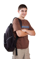 Preteen boy with backpack