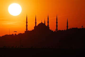 Blue Mosque in Sunset