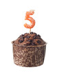 Chocolate muffin with candle for five year old isolated on white
