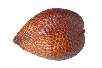 Single whole snake fruit isolated on white background