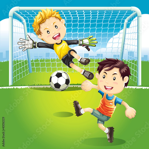 Fototapeta Children playing soccer outdoors