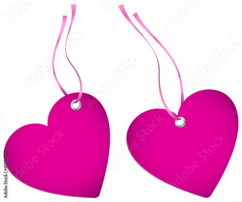 2 Hangtags Pink Heart Rose Bow
