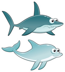 Dolphin and Shark. Vector isolated characters.