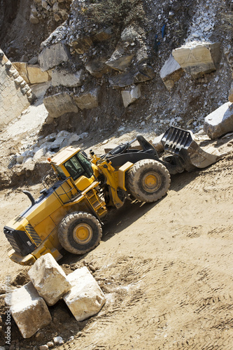 Resting excavato in a marble quarry