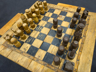 old wooden chess game