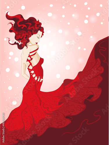 Yong woman in waving red dress