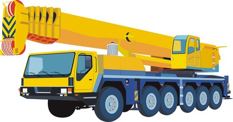 Yellow automobile crane
