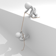 Helping hand, strong together, 3d image