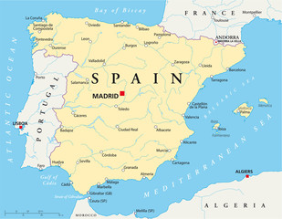 Spain political map with the capital Madrid, national borders, most important cities, rivers and lakes. English labeling and scale. Illustration on white background. Vector.