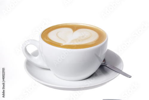 Leinwandbild Motiv Latte Cup with Heart Design.