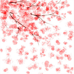 Background with blooming Japanese cherry tree