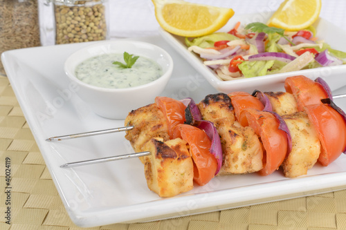 Paneer Tikka Kebab - Curd cheese skewers with salad & mint raita