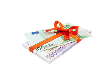 The euro money pile binded o satin red ribbon and bow