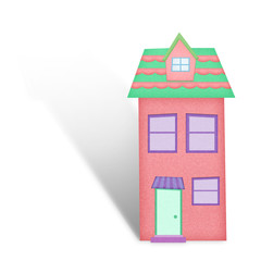 Cartoon house from recycle paper on white background