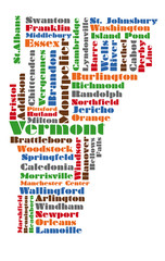 word cloud map of vermont state