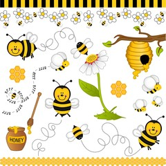 Bee digital collage