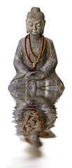 Bouddha et reflets, fond blanc
