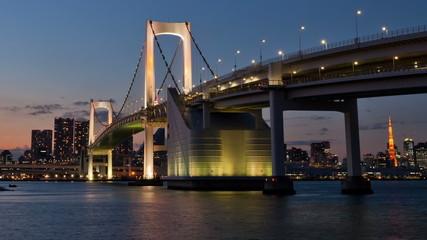 Timelapse of Rainbow Bridge in Tokyo, Japan