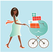 Happy pregnant african american woman with stroller