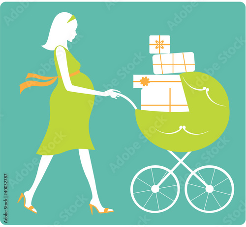 Happy pregnant woman with green stroller