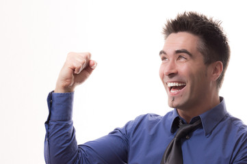 Lachender Mann Sieger