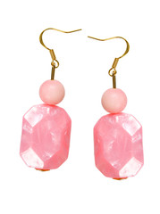Earrings made of pink plastic on a white background