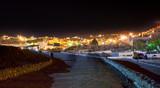 night panorama of town Wadi Musa, Jordan poster
