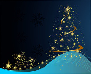 Christmas background. Fir-tree from stars).