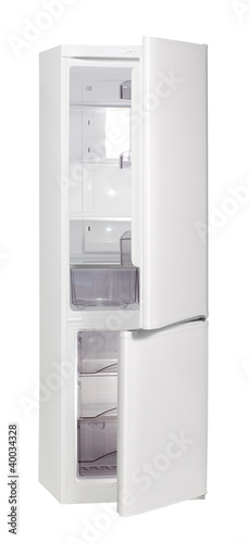 The image of open refrigerator isolated on white, clipping path.
