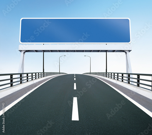 Bridge highway with blank sign