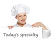Young female chef with copy space banner