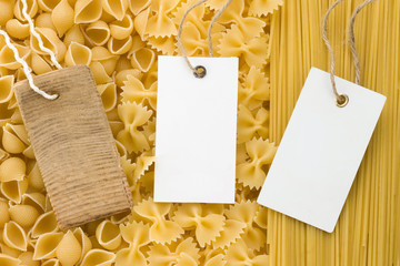 raw pasta and price tag