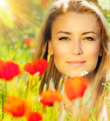 Closeup on beautiful woman face
