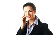 Smiling attractive business woman calling by telephone