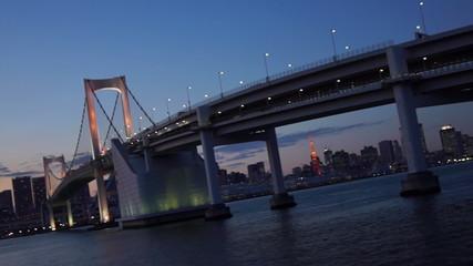 Rainbow Bridge panning shot, Tokyo, Japan