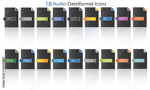 18 Audio Dateityp Icons