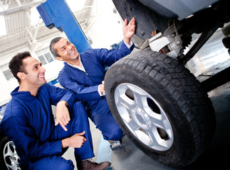 Mechanics fixing a puncture
