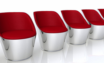 Clubchairs in a row - red silver