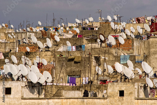 Satellites on the roofs of an ancient city of Fes.
