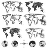 World map design elements. Pixels, lines, doodle & halftone